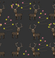 pattern with horned deer vector image vector image