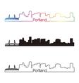 Portland skyline linear style with rainbow skyline vector image