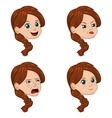 set of cute little girl faces vector image vector image