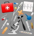 set of medical instruments and preparations first vector image vector image