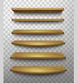 set wooden shelves on a transparent background vector image