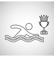 silhouette person swimm winner sport vector image