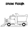 Snow plough with hand draw vector image vector image