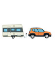 suv car and trailer camping adventure travel vector image