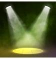 Two Lantern spotlight illuminates wooden scene vector image vector image