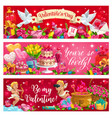 valentines day holiday cupids flowers and gifts vector image vector image