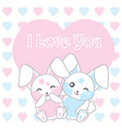 valentines day with cute rabbits on love vector image vector image