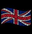 waving british flag collage of aquarium items vector image