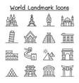 world landmark icon set in thin line style vector image