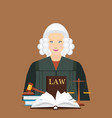 female judge in wig with law and justice set icon vector image