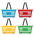 shopping basket flat color set isolated on white vector image