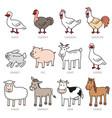 set of isolated caroon farm animals vector image