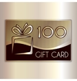 abstract gift card for one hundred in gold vector image vector image