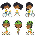 african american rider girl vector image vector image