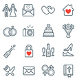 all kinds wedding marriage or bridal icons set vector image