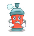 angry aerosol spray can character cartoon vector image vector image