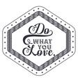 Attitude phrase about love inside frame design vector image vector image