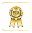 Award ribbon gold icon laurel wreath quality vector image vector image