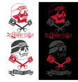 biker theme label with pistons and skulls vector image vector image