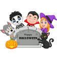 cartoon kids with halloween costume vector image vector image