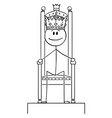cartoon smiling man or king sitting on the vector image