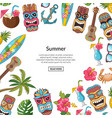 cartoon summer travel elements tiki vector image vector image