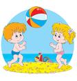 Children play a ball vector image