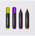collection of bright and colored highlighters vector image vector image