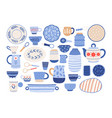 collection of modern ceramic kitchen utensils or vector image