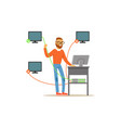 engineer system it administrator servicing the vector image vector image