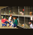 family adopting a dog from animal shelter vector image vector image