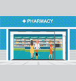 female pharmacist at the counter in a pharmacy vector image vector image
