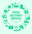 food delivery circle frame poster with glyph icons vector image vector image