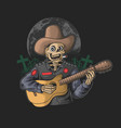 funny skeleton play guitar vector image