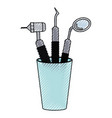 glass with dental cleaning tools and dental mirror vector image vector image