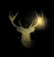 gold deer glitter concept icon symbol vector image vector image