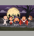 halloween backgrounds kids playing in scary vector image