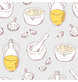Hand drawn aioli sauce seamless pattern background vector image