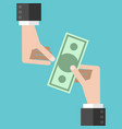 hands and money vector image vector image