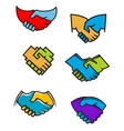 Handshake symbols and icons vector image vector image