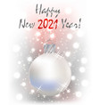 happy 2021 new year white greeting card xmas ball vector image vector image