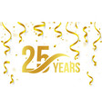 isolated golden color number 25 with word years vector image
