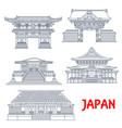 japanese travel landmarks with buildings tokyo vector image vector image