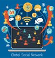 Laptop with Social Network Icons vector image vector image