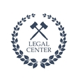 Legal center icon of judge gavel and wreath vector image vector image