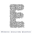 letter e symbol of white leaves vector image