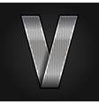 Letter metal chrome ribbon - V vector image