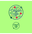 logo vegan cafe fork spoon vegetables vector image
