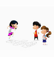many children playing hopscotch vector image vector image