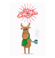 Merry Christmas card with cartoon deer vector image vector image